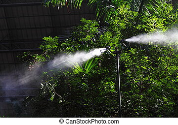 Irrigation sprinkler - Morning irrigation sprinkler working...