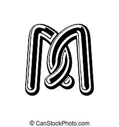 Letter M Celtic font. norse medieval ornament ABC....