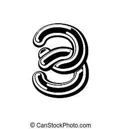 Number 3 Celtic font. norse medieval ornament ABC sign...