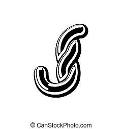 Letter J Celtic font. norse medieval ornament ABC....