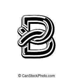 Letter B Celtic font. norse medieval ornament ABC....