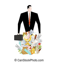 Businessman in garbage heap. Boss in Pile Rubbish. Waste...