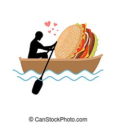 lover fast food. Man and hamburger ride in boat. Guy and Burger. Lovers of sailing. Romantic date fastfood. Glutton Lifestyle