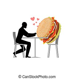 lover fast food. Man and hamburger in cafe. Guy and Burger. Lovers in restaurant. Romantic date fastfood. Glutton Lifestyle