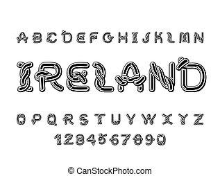 Ireland font. National Celtic alphabet. Traditional Irish...