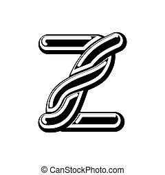Letter Z Celtic font. norse medieval ornament ABC....