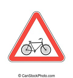 Attention cyclist. bicycle on red triangle. Road sign...