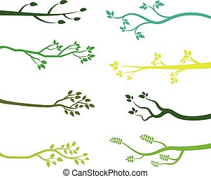 Green tree branch silhouettes