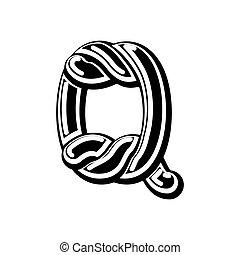 Letter Q Celtic font. norse medieval ornament ABC....