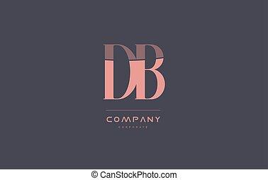 db d b pink vintage retro letter company logo icon design -...