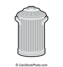 Trash can isolated. Wheelie bin on white background....