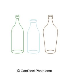 Empty Glass bottle set. transparent flask on white...
