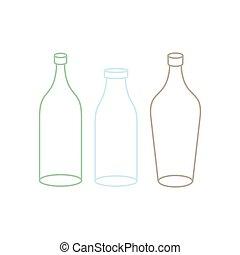 Empty Glass bottle set. transparent flask on white...