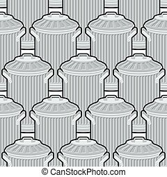 Trash can seamless pattern. Wheelie bin background. Dumpster...