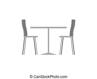 Table and chairs in cafe on white background