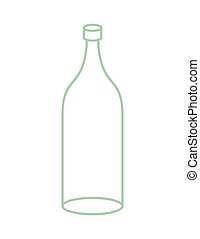 Empty Glass bottle isolated. transparent flask on white...