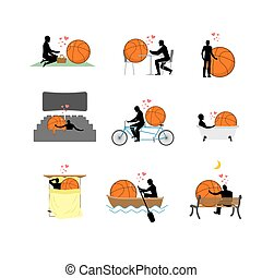 Lover Basketball set. Man and ball in movie theater. Lovers...