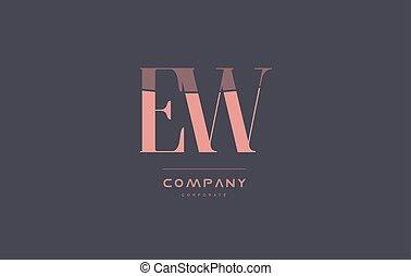 ew e w pink vintage retro letter company logo icon design -...