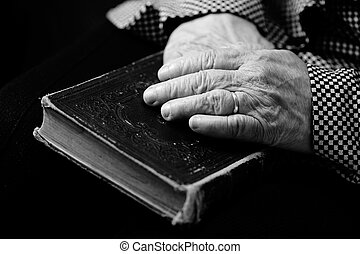 Worship time view with hands and bible during worship time