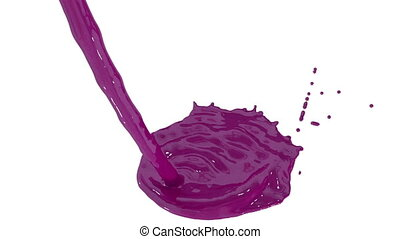 Flow of purple paint splattering on white background and dripping down over white. 3d render with alpha mask for background, transition or overlays. Version 3