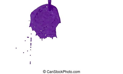 Flow of violet paint splattering on white background and dripping down over white. 3d render with alpha mask for background, transition or overlays. Version 12
