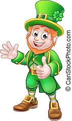 Thumbs Up Leprechaun St Patricks Day Character - Cartoon...