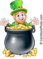 Pot of Gold Saint Patricks Day Leprechaun - A cartoon...