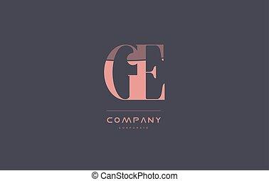 ge g e pink vintage retro letter company logo icon design -...