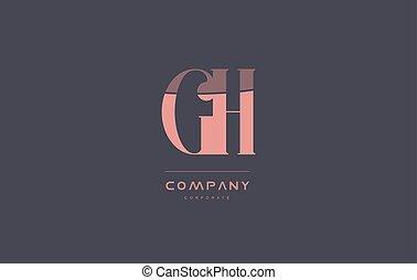 rosa, G, H, compañía, diseño, Retro, carta, vendimia,...