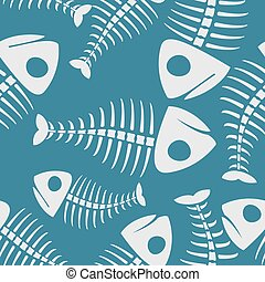 Fish bones seamless pattern. fishy Skeleton background