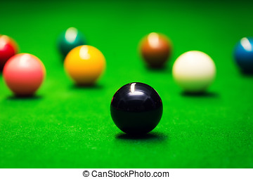 closeup of snooker balls on the green cloth table
