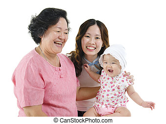 Grandmother, mother and grandchild - Portrait of happy three...