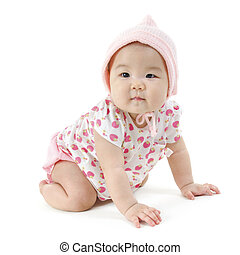 Portrait of Asian baby girl crawling - Portrait of full...