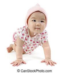 Asian baby girl - Portrait of full length Asian baby girl in...