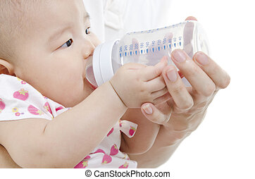 Father bottle feeding to baby