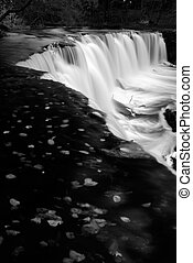 Autumn waterfall in Black and White.