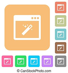 Application wizard rounded square flat icons