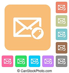 Tagging mail rounded square flat icons - Tagging mail flat...