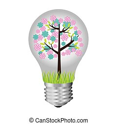 bulb with tree inside icon