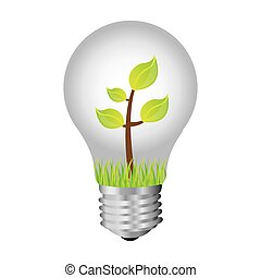 bulb with plant inside icon