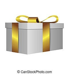 white gift short boxes with gold ribbon icon, vector...