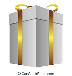 white gift long boxes with gold ribbon icon
