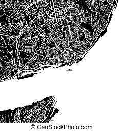 Lisbon Vector Map, Artprint. Black Landmass, White Water and...