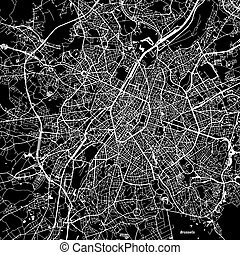 Brussels Vector Map, Artprint. Black Landmass, White Water...