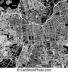 Santiago One Color Map, Vector Outline Version, ready for...