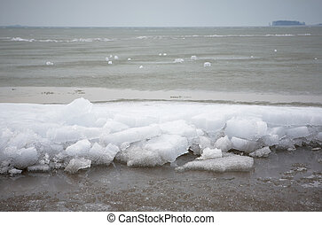 the sea is covered with ice
