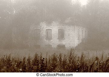 Old haunted house - A very old haunted house on a foggy day.