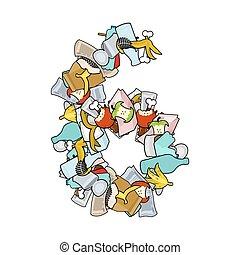 Number 6 Rubbish. Trash font six sign. garbage alphabet symbol. Lettering litter