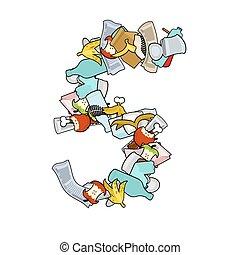 Number 5 Rubbish. Trash font five sign. garbage alphabet symbol. Lettering litter