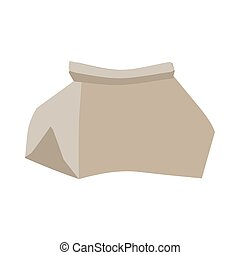 Paper bag crushed garbage isolated. package rubbish on white...